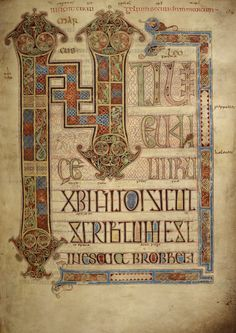 The Lindisfarne Gospels, is one of the great masterpieces of medieval western art. See this beautiful manuscript, and discover other treasures of the British Library. Anglo Saxon History, British History, Medieval Books, Medieval Art, Illuminated Letters, Illuminated Manuscript, Anglo Saxon Kingdoms, The Secret Of Kells, University Of Reading