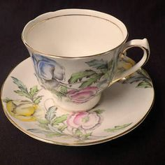 Vintage Tea Cup and Saucer Pink Yellow Blue Flowers SALISBURY England