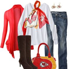 f73946fc Style inspiration for the female Kansas City Chiefs Fan. Check out the  football fashion and style ideas, and get Kansas City Chiefs Fan cute.