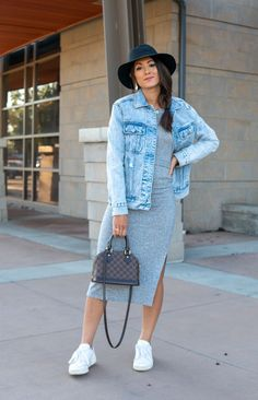 Fall dress outfit with denim jacket, sneakers and hat