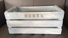 Stencilled crate, painted in AS Old White and Louis Blue  ~The Decor Vault~ www.facebook.com/thedecorvault