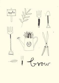Garden tool art Illustration by Katt Frank Tools Used For Gardening, Garden Tools, Sketch Note, Garden Tool Storage, Garden Illustration, Garden Drawing, Garden Journal, Illustrators, Collages
