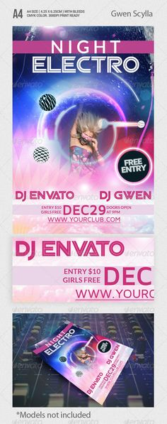 NEW design. Night Electro Party Flyer Template