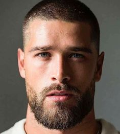 Beard Styles For Men, Hair And Beard Styles, Very Short Hair Men, Buzz Cut With Beard, Buzz Cut Boys, Buzz Cut Hairstyles, Cute Hairstyles, Beckham Hair, Beard Haircut