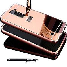 LG K7 Case, TabPow Mirror Case Series - Electroplate Bumper Bling Luxury Slim Hard Back Case Cover For LG K7, Rose Gold