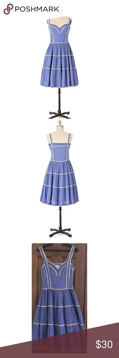 """Anthropologie Viola Nonpareil Dress Covered in sugar-sweet dots and icing-white piping, this tiered sundress has no equal. By Voila. ❤️ Side zip Cotton; cotton lining Dry clean 40""""L Imported bust 16.5"""" approx worn a couple of times see pic 3,4 and 5 for real life pics Anthropologie Dresses"""