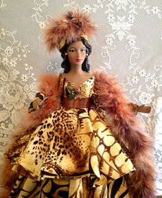 African American Doll - Black Doll - Art Doll - Handmade OOAK Doll - Scripture Doll - Animal Print Doll Free Personalization