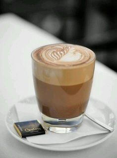 cafe latte in a glass cup with chocolate Coffee Latte, I Love Coffee, Espresso Coffee, Black Coffee, Coffee Break, Coffee Time, Morning Coffee, Coffee Cups, Coffee Aroma