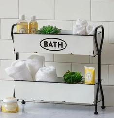 LARGE Enamel 2 Tray Bath Organizer