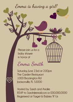 Love Birds Baby Shower Invitation  Printable Digital by PinkPueblo, $12.00