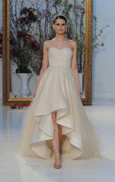 Champagne high-low gown with beading embellishments | Anne Barge Spring 2017 | www.theknot.com/...