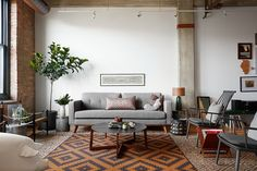 Contemporary living room with industrial and scandinavian touches