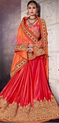 Plain Satin Crepe Saadi Orange Aari Work Skirt Border SF3345D19900