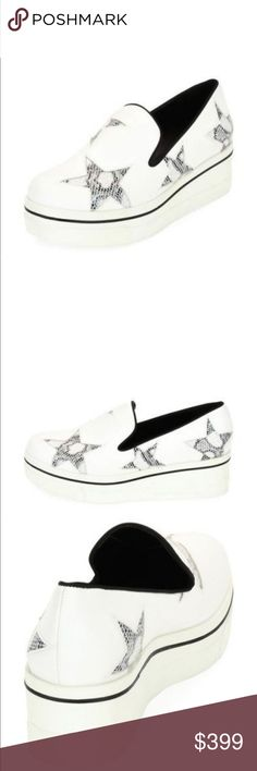 """NEW STELLA MCCARTNEY BINX SKATE SHOE Sells for retail at Nordstrom...$485 plus tax.                        Stella McCartney faux-leather (polyurethane/polyester) sneaker with snake-embossed cutout stars. 1.8"""" wedge heel with 0.6"""" platform; 1.2"""" equiv. Round toe. Notched vamp. Slip-on style. Padded footbed. Rubber outsole. Stella McCartney Shoes Platforms"""