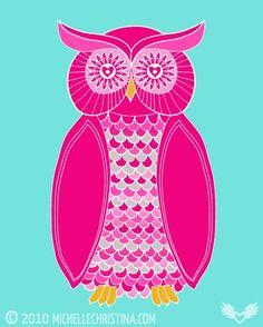 Pink Sugar Owl Art Print - Multiple Sizes Available. $36.00, via Etsy.