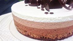 entremet trois chocolats, mousse chocolat noir, mousse chocolat au lait, mousse chocolat blanc, craquant praliné, génoise cacao, miroir chocolat, dessert de fête de père