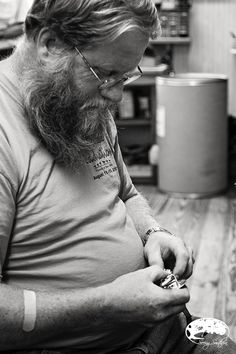 Johnny, one of our oldest employees here at the shop begins the process of making a custom headstall.  #harrisleatherandsilverworks photo from:  Seeing Southern