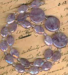 """Lavender Amethyst Gemstone Beads~ Faceted Ovals, Disks, Rounds 17"""" strnd Genuine"""
