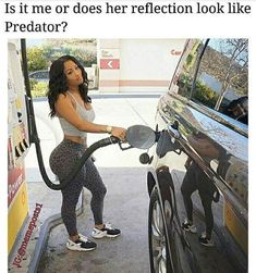 hot girl pumping gas and her reflection looks like the predator Swag Outfits, Girl Outfits, Cute Outfits, Thick Body, Slim Thick, Ted, Beautiful Black Women, Sexy Hot Girls, Swagg