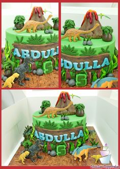 Best dinosaur birthday party ideas for kids. Party decoration, balloon garland , cake and cookies. Dinasour Birthday Cake, Dinasour Cake, Dinosaur Birthday Party, Bolo Elsa, Volcano Cake, Chocolate Hazelnut Cake, Dino Cake, Jungle Cake, Cakes For Boys