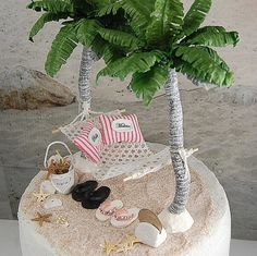 Beach Hammock Cake Topper Custom Designed by Memoriesnminiature Beach Themed Cakes, Beach Cakes, Themed Wedding Cakes, Wedding Cupcakes, Wedding 2017, Our Wedding, Wedding Ideas, Beach Wedding Cake Toppers, Seaside Wedding