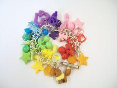 Pokemon Eevee Charm Bracelet  Rainbow by cwocwodesigns on Etsy, £12.00