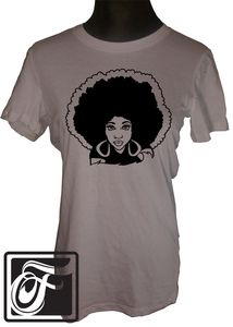 Natural Hair T-shirt What can we say? We love the Afro! It is iconic, as is this tee. So share your inner FocsiMama with the world.  A fitted tee with a longer length that will surely become your favorite.  Available in size S to 5X.  Color: Pebble Brown   Material: 4.2 oz., 100% combed and ringspun cotton  $27