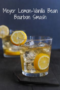 Meyer Lemon-Vanilla Bean Bourbon Smash | bourbon, vanilla bean, sugar, meyer lemon, vanilla simple syrup, orange bitters, club soda