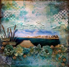 Stunning mixed media page using our Chipboard Cattails!