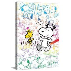 Marmont Hill Colorful Snoopy Peanuts Print on Canvas, Size: 24 inch x 36 inch, Multicolor