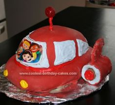 Homemade Little Einsteins Rocket Cake: This was a first attempt at a Little Einsteins rocket cake  and sadly I was in a hurry at the end, so I ran out of fondant (which is why you see so much