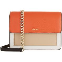 DKNY Mini Bryant Park Cross Body Bag ($155) ❤ liked on Polyvore featuring bags, handbags, shoulder bags, crossbody purses, red handbags, chain crossbody, mini purse and mini crossbody