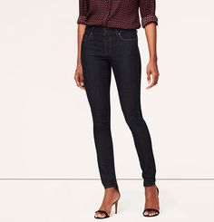 Petite Curvy Skinny Jeans in Dark Rinse from LOFT. These are my current jeans, form fitting with a little stretch - love 'em!