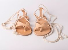 4f83bc40162236 Slip on Criss Cross Sandals natural color and white ropes - Greek sandals -  Eleanna Katsira Donousa - Wedding sandals - Ancient Greek Sandal