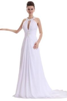 Sunvary Sexy Halter Applique Chiffon Long Beach Wedding Bridal Gowns Formal Dresses