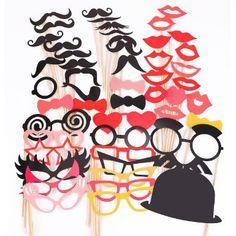 50 Tlg. Party Foto Verkleidung Schnurrbart Lippen Brille Hüten Photo Booth Props Set Hochzeit Partymitbringsel: Amazon.de: Spielzeug