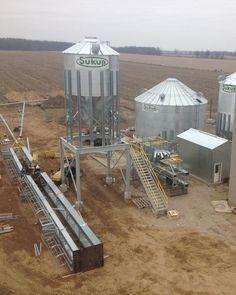 Grain bins done. Bucket elevators up next. Almost ready for the crane! #ontag #teamDEVOLDER @sukupmfg