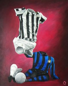 """La Vechia Signora vs Nerazzurri""  Acrylic on Canvas Painting by Betirri.  Prints available at www.futbolartistnetwork.com  #soccer #futbol #azzurri #juventus #InterMilan #Inter #calcio #scudetto #Soccerart #futbolart"