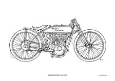 HARLEY DAVIDSON 11K 1915 Original Handmade Drawing by drawspots, $42.00