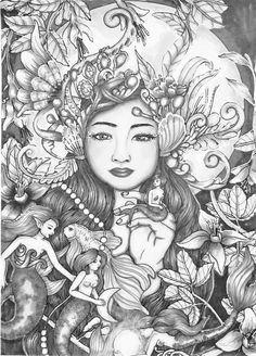 Adult Coloring Free Colouring Sheets Books Nymphs Sirens Witches Mandala Mermaids