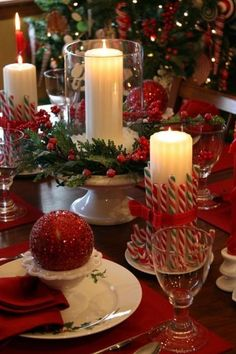 Candy canes wrapped in hurricanes/ flame less candles.