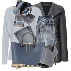 """""""Grey & Blue"""" by brendariley-1 on Polyvore"""