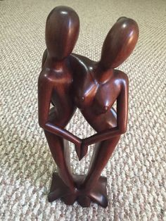 Handmade Wooden Sculpture Romantic Couple | eBay