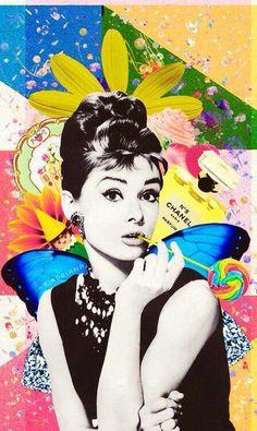 Audrey Hepburn Source by arethtsouprake Audrey Hepburn Wallpaper, Audrey Hepburn Kunst, Marilyn Monroe And Audrey Hepburn, Audrey Hepburn Movies, Aubrey Hepburn, Collages, Collage Art, Pin Up, Andy Warhol