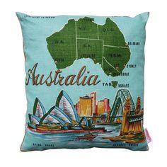 Vintage Retro SYDNEY Australia Cushion | Merry-Go-Round on Madeit
