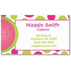 pink and green watermelon calling card / business card