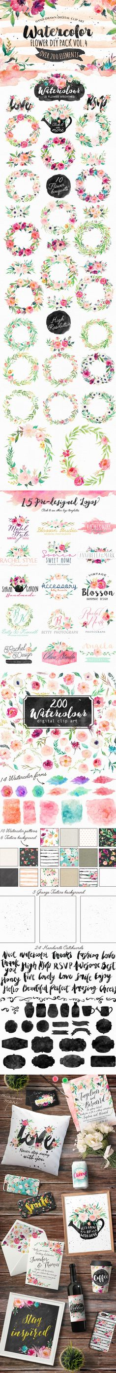 hand drawn digital clip art floral wreath watercolor painted flowers floral…