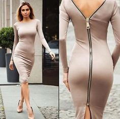 Sexy Womens Zipper Knitted Long Sleeve Slim Midi Nightclub Party Cocktail  Dress Pencil Dresses 4d8a0f3ff145
