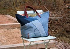 Eco-friendly Recycled Denim and Leather Tote- Recycled Denim Bag- Repurposed Denim Bag on Etsy, $105.00