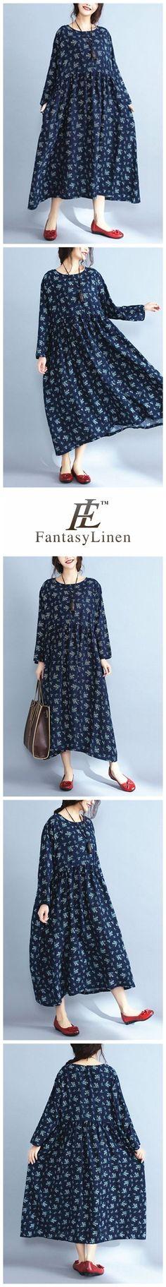 Floral Plus Size Vintage Loose Dress Women Clothes Q7842